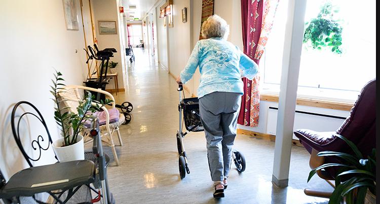 En gammal kvinna går i en korridor med en rullator.