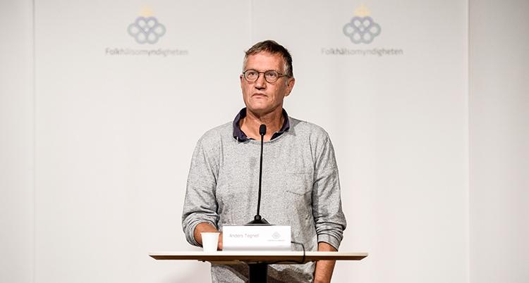 Anders Tegnell i grå tröja tittar ut mot folk (som inte syns i bilden) under presskonferensen.