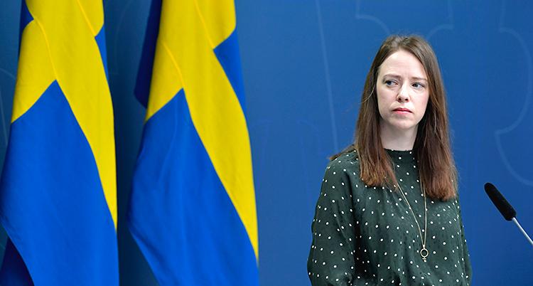 Hon är på en träff med journalister. Hon står framför en mikrofon. Hon har en grön blus med vita prickar. Bakom henne finns två svenska flaggor.