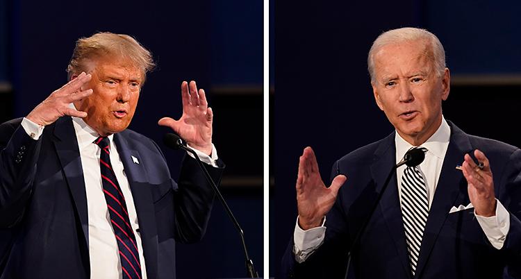 Till vänster står Donald Trump och pratar. Han har kostym. Till höger är Joe Biden. Han har också kostym.