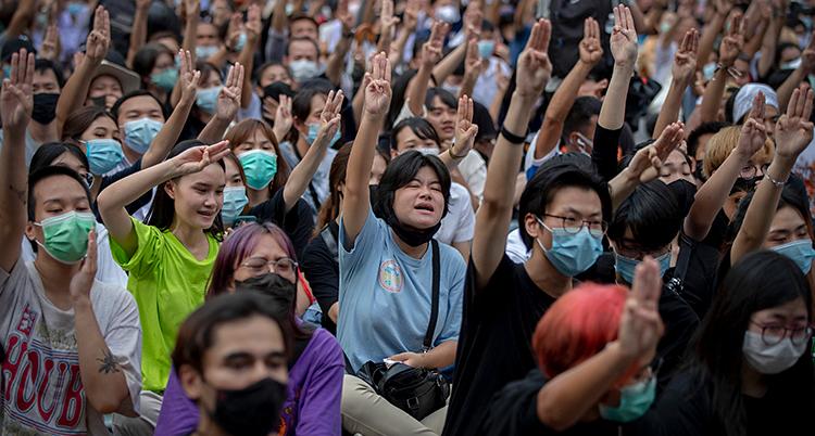 Många unga människor är samlade. De protesterar. De sträcker upp en av sina armar i luften.