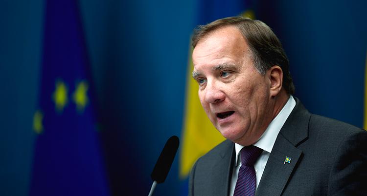Statsministern under presskonferensen.