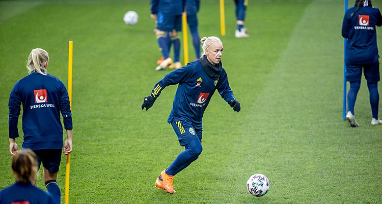 En fotbollsplan som är grön. Flera spelare är på planen. De har mörkt blå kläder. En blond kvinna är i mitten med en boll.