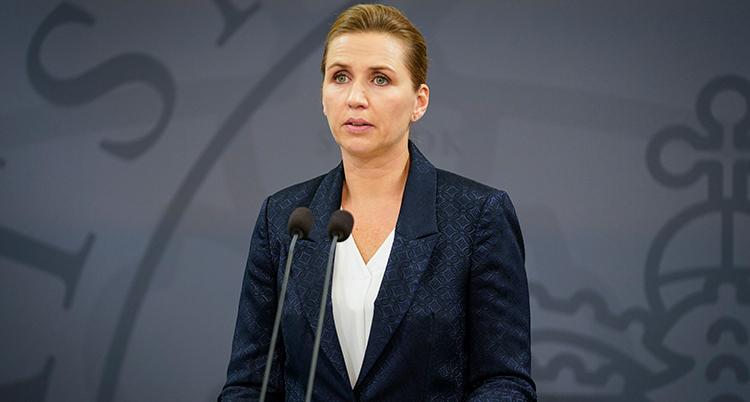Mette Frederiksen på presskonferensen.