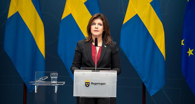 Hon står på en scen och talar. Sveriges flagga syns bakom henne.