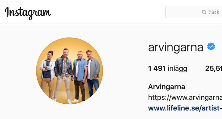 en skärmdump på arvingarnas instagram.