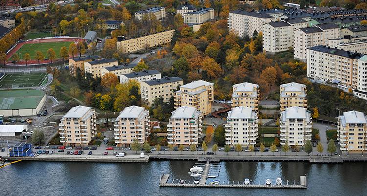 Hyreshus i Stockholm, vid vattnet.