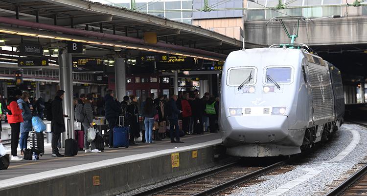 Vi ser ett tåg som rullar in på en station. På perrongen står människor och väntar.