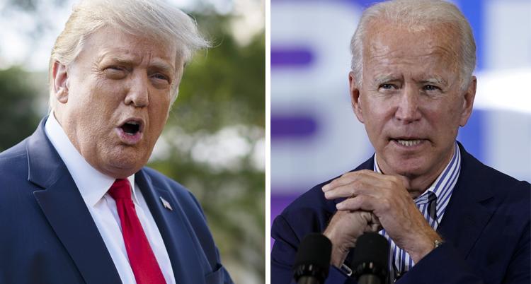 Två bilder. Den till vänster är på Trump. Han har kostym och röd slips. Joe Biden har också kostym och blå skjorta.