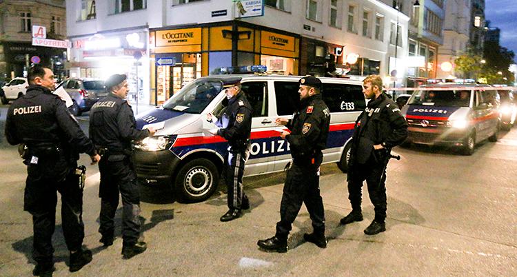 Fem poliser står på en gata mitt i en stad. Poliserna har svarta kläder. Flera polisbilar finns också på gatan.