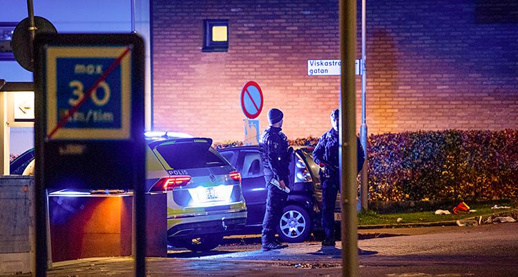 Bilden är tagen utomhus i staden Borås. Det är ganska mörkt. Två poliser står på en gata, bredvid en polisbil.