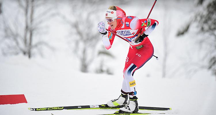 Therese Johaug åker skidor. Hon har en röd och vit dräkt.