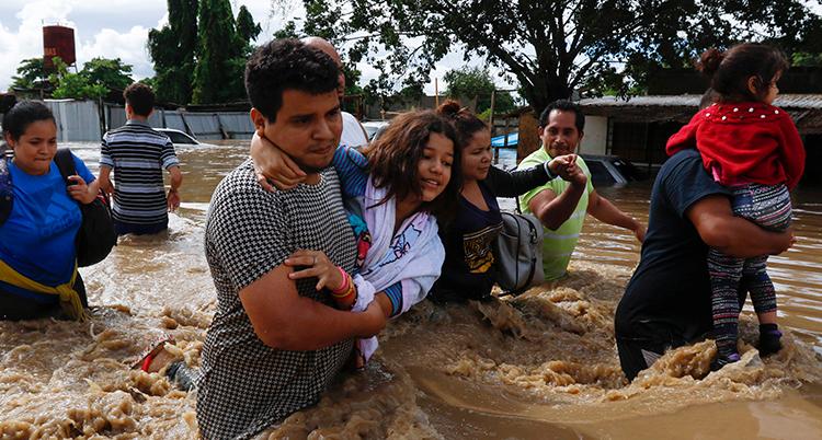 Flera människor går i brunt vatten som når upp till midjan. Några bilar sticker upp ur vattnet.