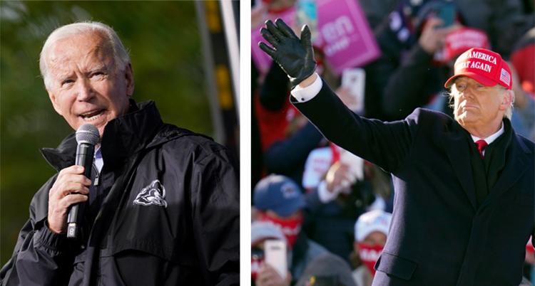 På den vänstra bilden talar Biden i en mikrofon. Trump till höger vinkar.