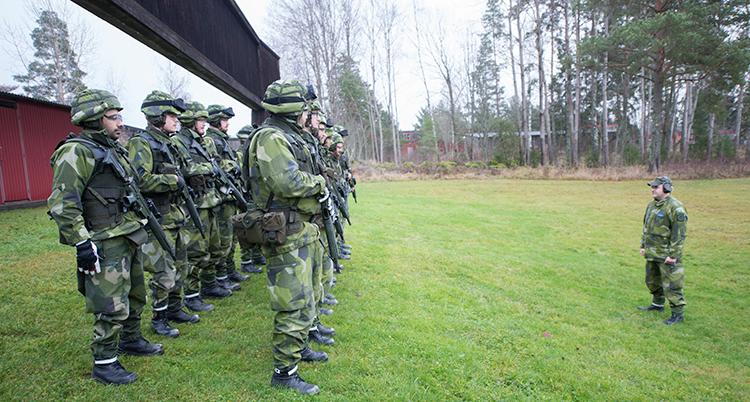 Människor i militärkläder står på två led på en gräsmatta. Framför står en miltiräsklädd person vänd mot gruppen.