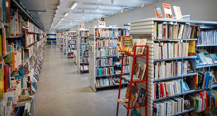 Ett bibliotek med många hyllor med böcker