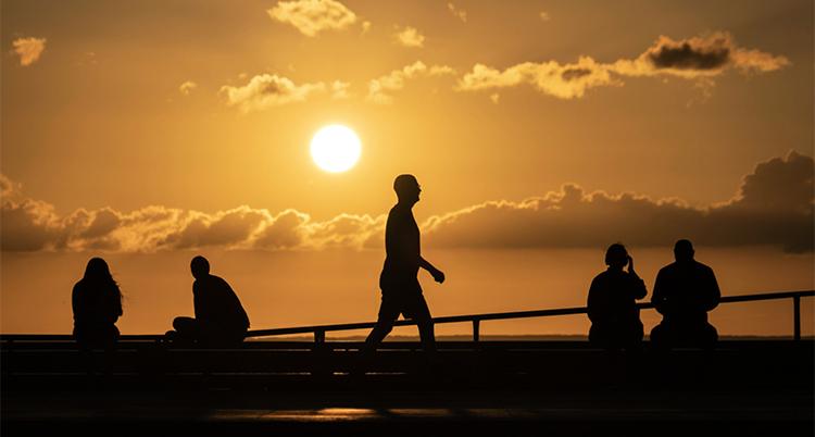 Skuggor av människor syns i en solnedgång.