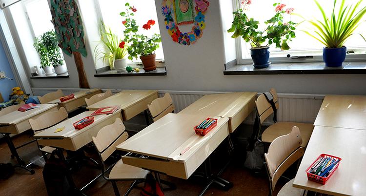 Ett tomt klassrum.