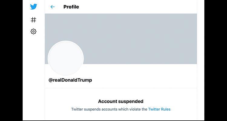 Den avstängda Twittersidan.