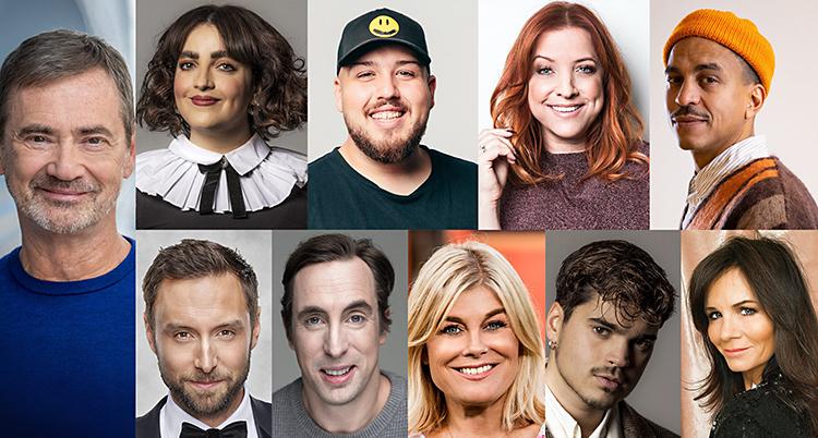 En stor bild där man har satt ihop tio porträttbilder på programledarna.