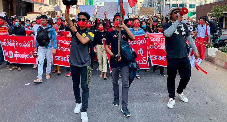 Människor går på en gata. De har flaggor och plakat med sig.