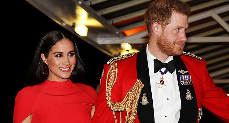 Meghan och Harry står bredvid varandra. Meghan har långt mörkt hår och en röd klänning. Harry har kort rött hår och skägg. Han har en röd kavaj med medaljer på, vit skjorta och svart fluga.
