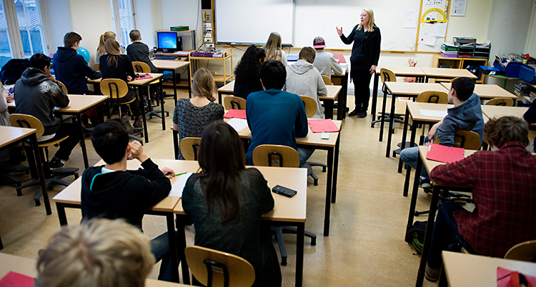 Ett klassrum. Bilden är tagen längst bak i klassrummet, fram mot tavlan. Elever sitter vid bänkar och lyssnar. Längst fram står en lärare och pratar.