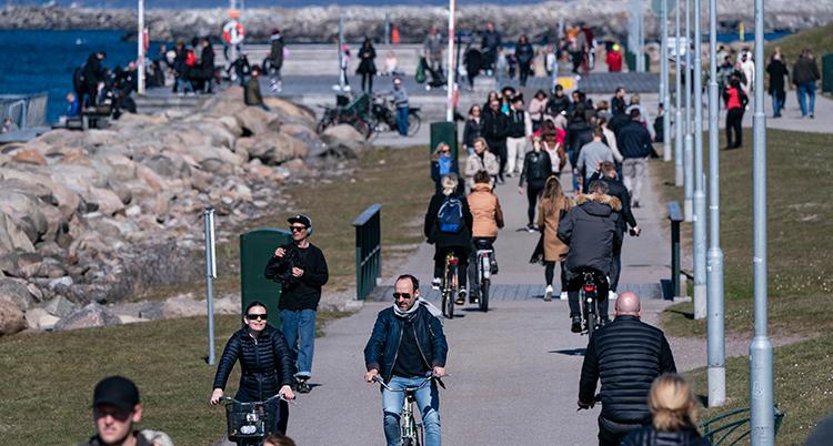 Människor cyklar och går på en cykel- och gångbana intill vattnet.