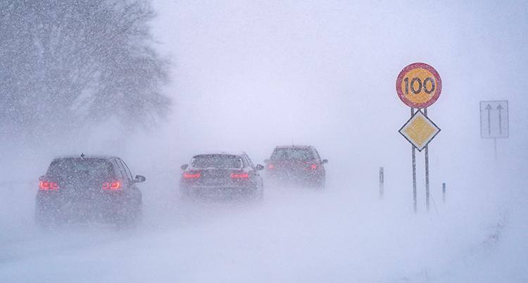 Bilar kör på en väg. Det är snö på marken och mycket snö i luften.