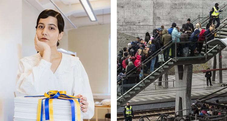 Två bilder. Den ena är på en kvinna framför en hög med papper. Den andra på många människor som går upp för en trappa på tågstationen i Malmö. De är flyktingar.