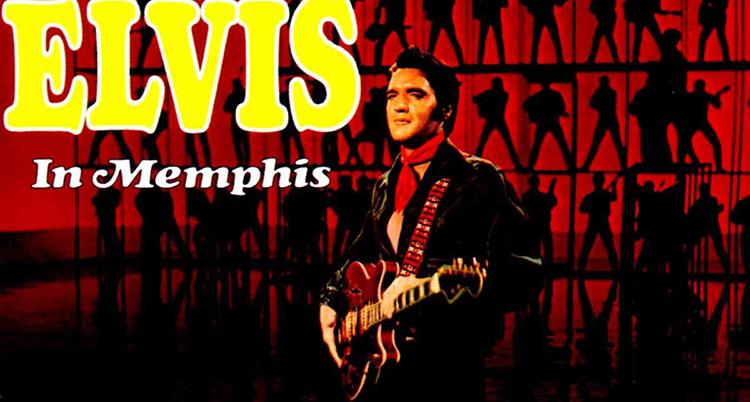 Många små svarta siluetter ses mot en röd bakgrund. I gult står det Elvis. Längst fram står en man klädd i svart jacka och röd skjorta har en gitarr över bröstet.