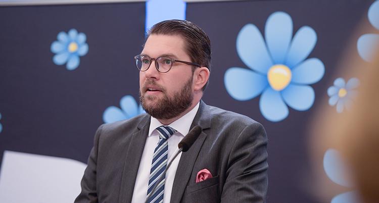Åkesson ser allvarlig ut. Bilden visar överkroppen. Han pratar. Han har slips och kostym. Em röd näsduk sticker upp ur fickan. Bakom honom är partiets symbol - en blåklocka.