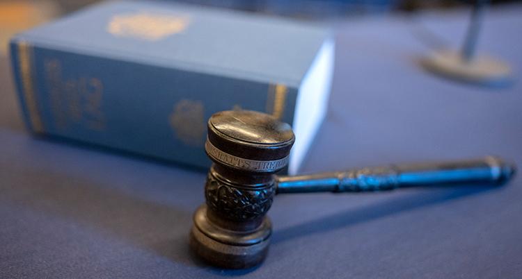En bild på Sveriges lagbok och klubban som domaren i en domstol har.