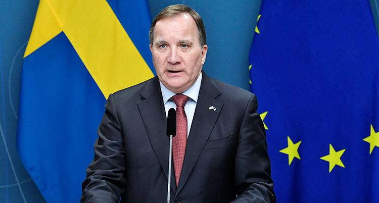 Han har kostym, talar i en mikrofon. Bakom syns en svensk flagga och EU-flaggan.