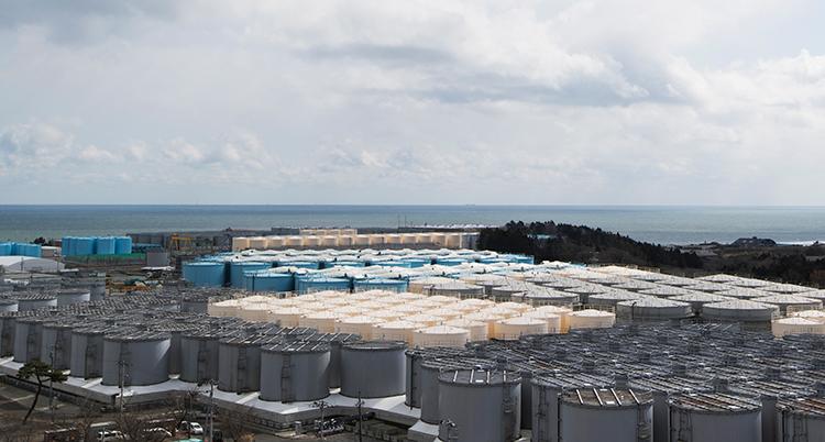 Stora tunnor med vatten från Fukushima står samlade och väntar.