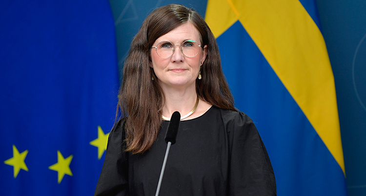 Stenevi är på en träff med journalister. Hon tittar in i kameran. Hon har långt mörkt hår och glasögon. Hon har en svart tröja. Hon har en mikrofon framför sig. I bakgrund finns Sveriges flagga och EUs flagga.