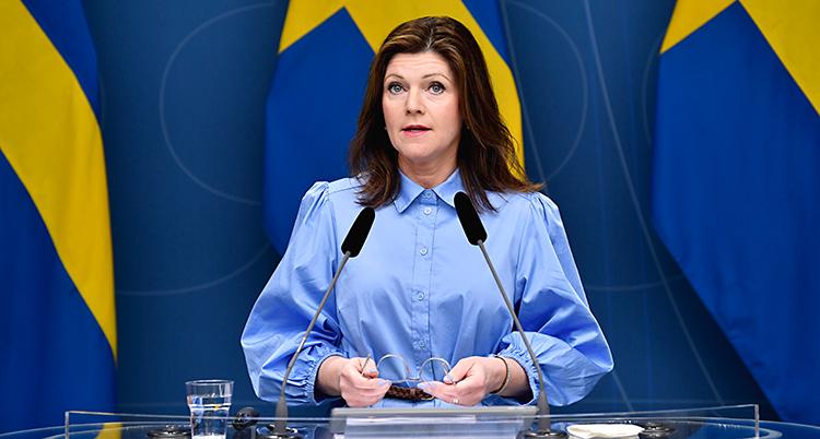 Eva Nordmark har en träff för journalister. Hon står vid ett bord och pratar. Hon har två mikrofoner framför sig. Hon har långt brunt hår och en blå skjorta. I bakgrunden syns Sveriges flagga.