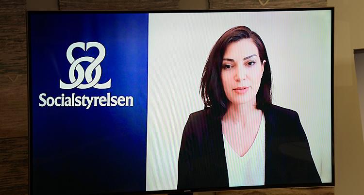 Vi ser en kvinna på en skärm. Hon pratar. Bredvid henne finns en skylt där det står Socialstyrelsen.