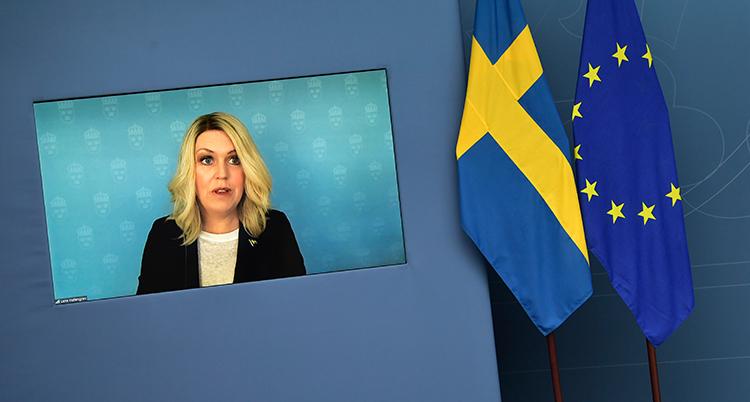 Lena Hallengren på en tv-skärm. Bredvid henne två flaggor, en svensk och EUs.