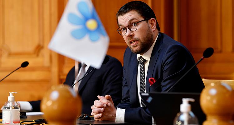 Åkesson ser bekymrad ut. Han sitter vid ett skrivbord med partiets flagga bredvid sig.