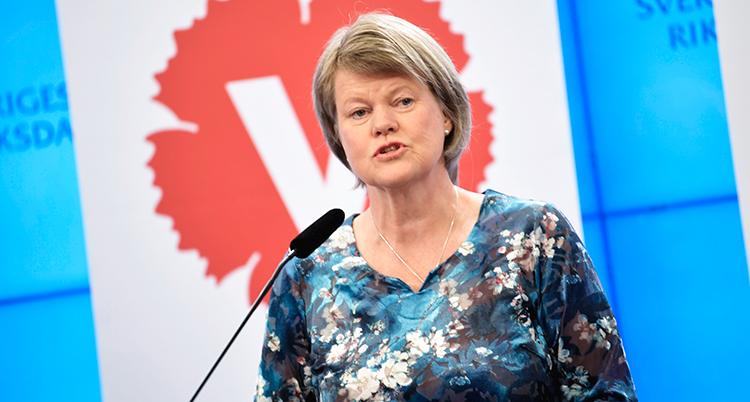 Hon har en mönstrad tröja och pratar i en mikrofon. Bakom syns Vänsterpartiets logga.