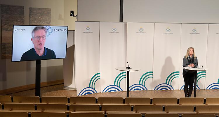 Bilden är från en sal med en scen. Bänkraderna är tomma. På scenen står en kvinna vid ett bord. På en stor skärm syns en man som pratar.