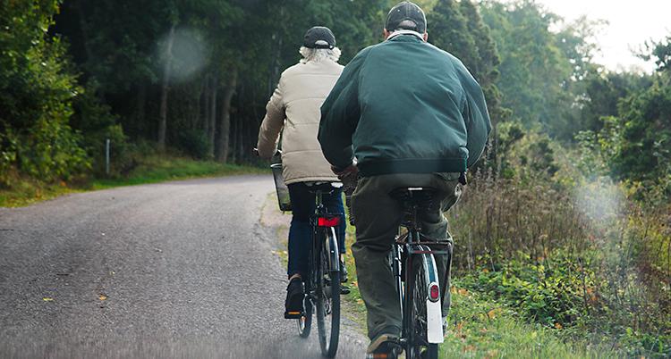 Bilden visar en väg på landet. En kvinna och en man cyklar på varsin cykel. Vi ser dem bakifrån.