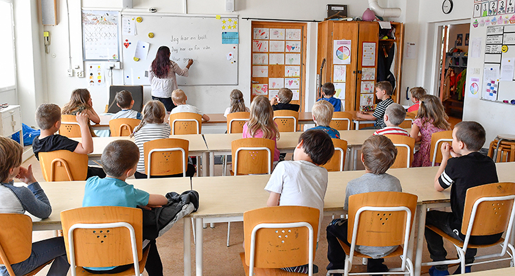 Elever sitter vid bord i ett klassrum. De sitte med ryggen mot kameran och tittar på vad en lärare skriver på tavlan.