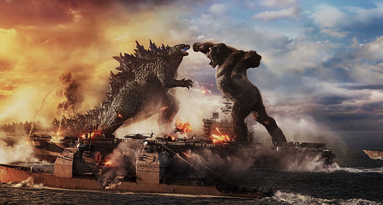 Två monster är på väg att börja slåss. En slags drake och en stor apa. Nedanför dem är brinnande hus. de är jättestora. .