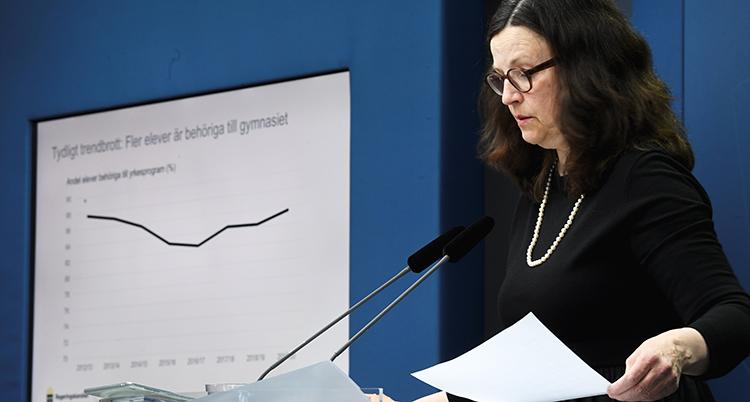 Ministern står i en talarstol med två mikrofoner. Hon tittar ner på några papper. Bakom henne är en bild på väggen som berättar om undersökningen.