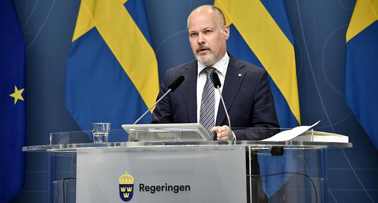 Bilden visar Morgan Johansson från den svenska regeringen.