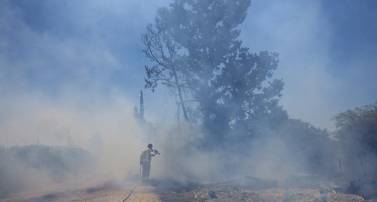 Det brinner utomhus. En brandman med en slang försöker släcka elden.