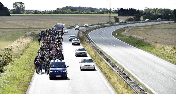 Massor av människor går på en väg. Några bilar kör bredvid dem.