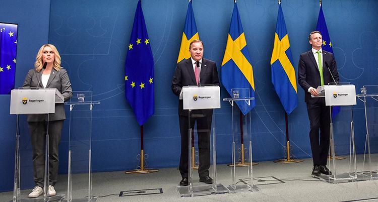 Ministrarna står bredvid varandra med någon meters lucka. De står vid varsin talarstol. Bakom dem är svenska flaggor.